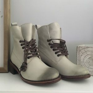 Anthropologie Lace Up Ankle Boots White Cream